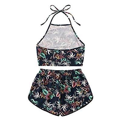 SweatyRocks Women's 2 Piece Set Halter Crop Top and Shorts Set at Women's Clothing store