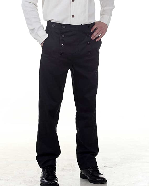 Men's Vintage Christmas Gift Ideas Architect Pants Trousers -Black $48.99 AT vintagedancer.com