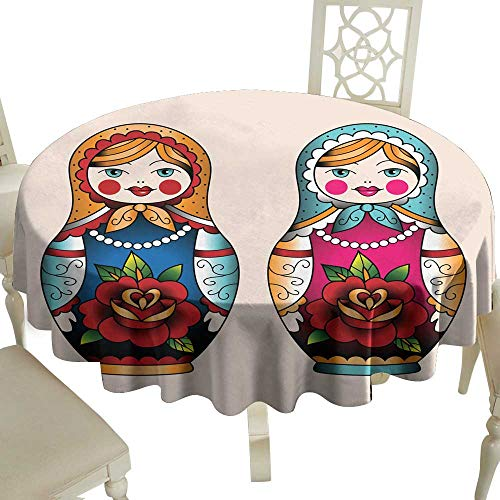WinfreyDecor Washable Table Cloth Russian Nesting Dolls Great for Buffet Table D67
