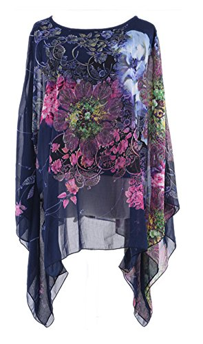 Ostale Women's Bohemian Batwing Sleeve Loose Tops Flower Chiffon Blouse Tee Top Shirt (Dark Blue)