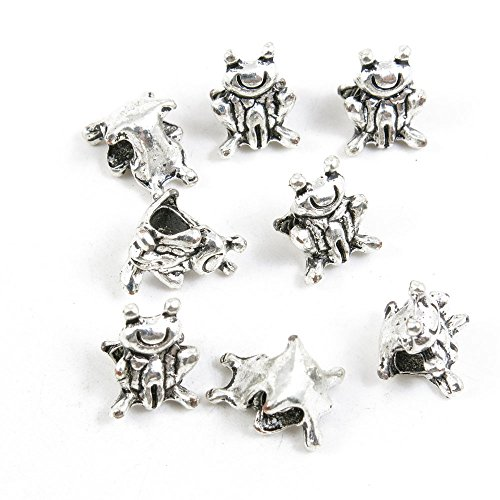 40 Pieces Antique Silver Tone Jewelry Making Charms Pendant Findings Craft Supplies Bulk Lots Arts S4UB1 Frog Prince Loose Beads (Tone Frog Pendant)