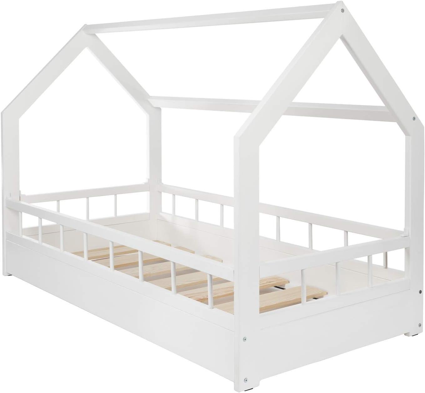 Solenzo – Cama cabaña para niños con somier y barrera: Amazon.es ...