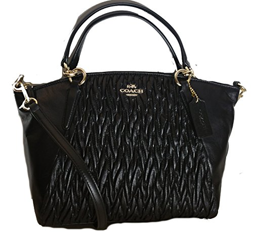 Coach Small Kelsey Satchel in Black Gathered Twist Leather F37081 by Coach