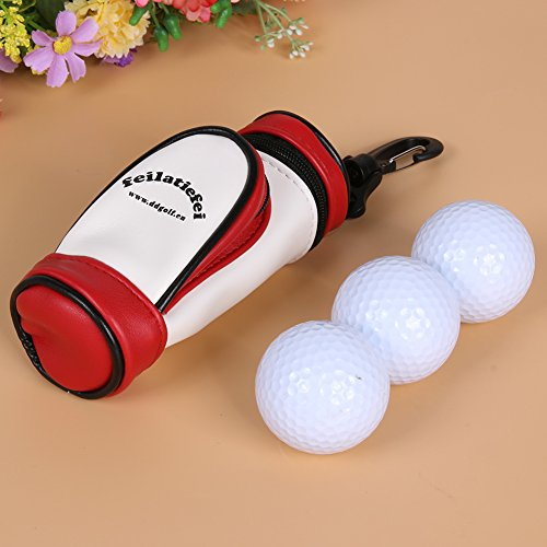 Alloet PU Leather Material Mini Portable Golf Ball Storage Bag Small Waist Pack with 3 Golf Balls by Alloet (Image #6)