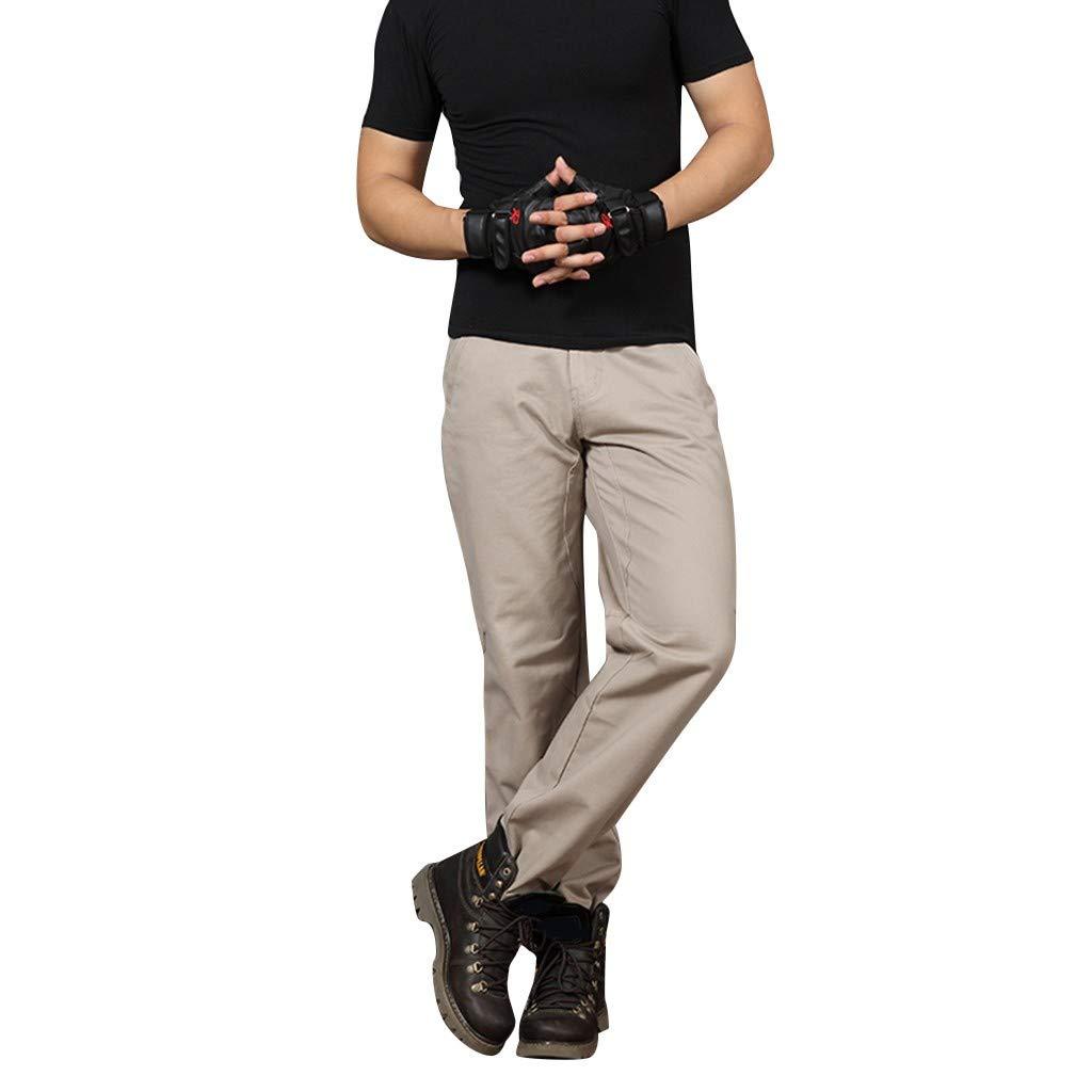 Men's Straight Fit Pant,Imakcc Summer Pants Casual Long Jogger Running Sportwear (42, Beige) by Imakcc-Sports pants