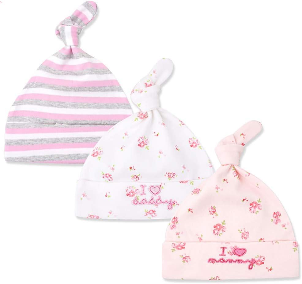 Tukistore 3 Pezzi cappello beanie Baby neonato ragazzi ragazze cotone cappellino regolabile per bambino 0 6 mesi