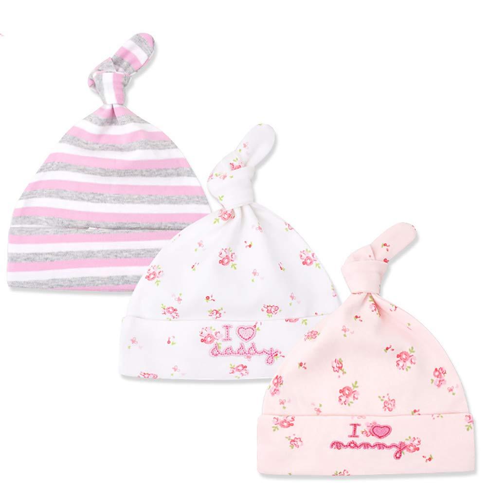 Tukistore 3 Pezzi cappello beanie Baby neonato ragazzi ragazze cotone cappellino regolabile per bambino 0 – 6 mesi XD0001165X#1