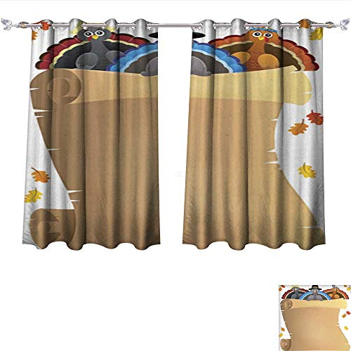 Printed Blackout Curtain Thanksgiving Theme Parchment 9 Grommet Window Curtain Drape Panels W84 x L72/Pair