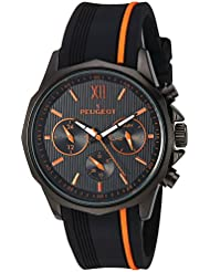 Peugeot Mens Chronograph Quartz Metal and Silicone Sport Watch, Color:Orange (Model: 2046BOR)