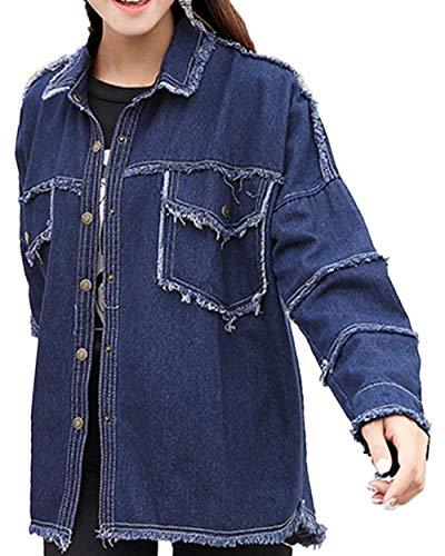 Manga Colores Moderno Primavera Joven Estilo Mujer Sólidos Casuales Moda Chaqueta Outdoor Vaqueras Larga Elegante Abrigo Vintage Outerwear Blau Otoño Mujeres Jacket Battercake 7qgwvxTn