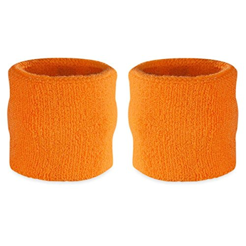 Suddora Wrist Sweatbands Also Available in Neon Colors - Athletic Cotton Terry Cloth Wristband for Sports (Pair) (Neon Orange)]()