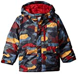 Columbia Boys' Big Lightning Lift Jacket, Red Element Blocks Print, Medium