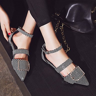 LvYuan sandalias de verano de Orsay&Dos piezas de partido del cuero de patente comodidad&vestido de noche de la hebilla del talón plano Black/White