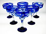 Mexican Glass Margarita Blue Swirl set of 6