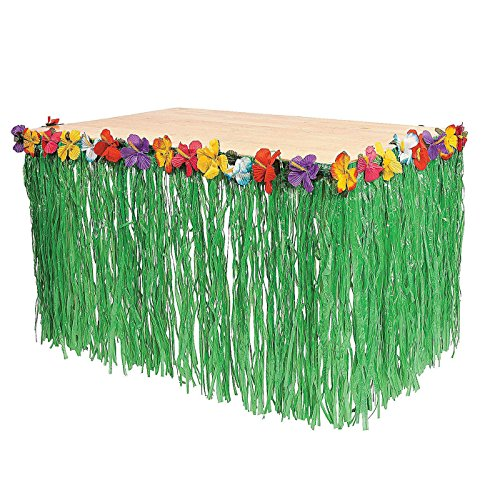 Ifavor123 Green Grass Hibiscus Hawaiian Luau Table Tropical Party Decoration 9 Ft Long Skirt (1)
