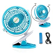Oct17 Portable Stroller Table Fan Rechargeable Battery USB Mini Battery Operated Clip on Mini Desk Fan for Home Office Baby Stroller Car Laptop Study Gym Camping Tent - Blue