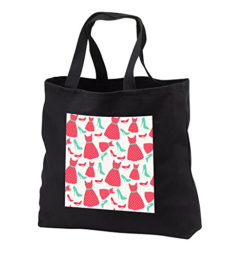 Price comparison product image Anne Marie Baugh - Patterns - Cute Pink Dresses and Aqua High Heel Shoes Pattern - Tote Bags - Black Tote Bag 14w x 14h x 3d (tb_255002_1)