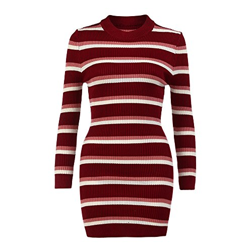 Hot Sales! ZOMUSA Womens Fall Long Sleeve Striped High Collar Stripe Dress Black And White Sweater Mini Dress (L, Red) -