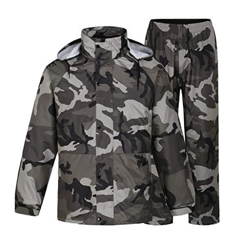 LAXF- Rain Suit for Men Reusable Rainwear (Rain Jacket and Rain Pants Set) Adults Waterproof Rainproof Windproof Hooded Outdoor Work Motorcycle Golf Fishing Hiking (Size : XXXL)
