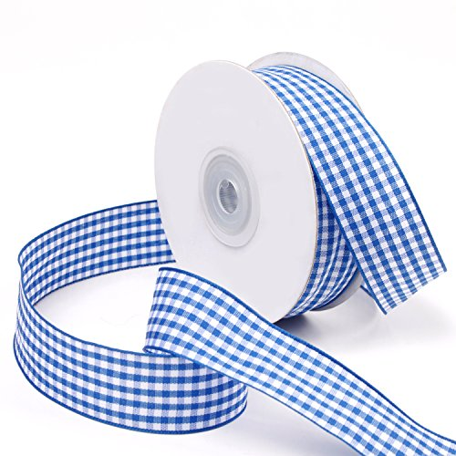New LaRibbons 1 inch Wide Plaid Ribbon, Gingham Ribbon for Craft - 25 Yard/spool (Blue)