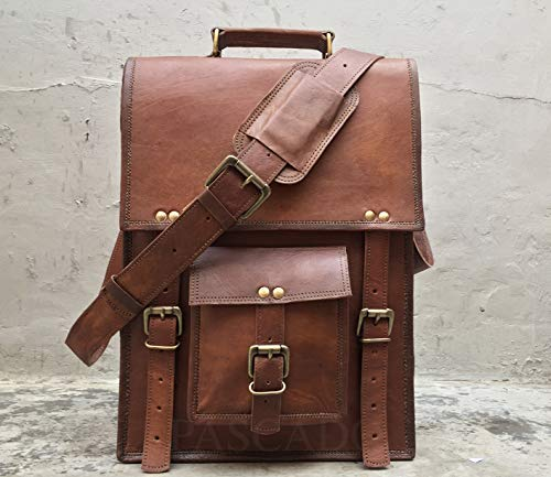 - Pascado Vintage leather messenger laptop computer briefcase bag 15 inch crossbody shoulder satchel ipad bag men women Vertical