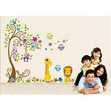 XX-large Jungle owl tree nursery bedroom wall decor decal colorful scroll tree boy's room wall sticker Giraffe/lion/owls/squirrel baby kid's wall art decal