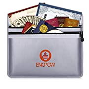 """#LightningDeal ENGPOW Fireproof Document Bags 15"""" x 11"""" Two Pockets Two Zippers Fire and Water Resistant Money Bag Fireproof Safe Storage Pouch Envelope for Ipad, Cash, Documents, Jewelry and Passport"""