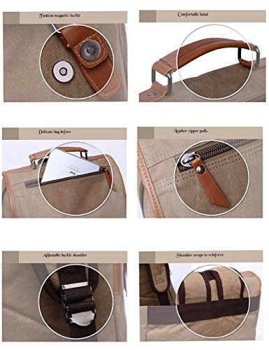 Aidonger Unisex Vintage Canvas Schulrucksack Laptop Rucksack (Kaffee)