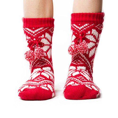 Field4U Women's Knit Stockings Thick Plush Slipper Socks ...