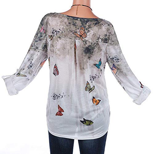 Hauts Casual Shirts Monika Blouse T Automne Tops Chemisiers Fashion Longues Kaki Imprime Manches Tunique Shirts Tee Femmes Papillon Printemps 114zx