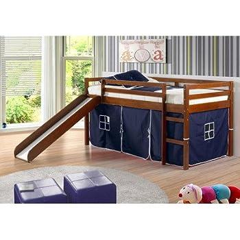 Amazon Com Donco Kids Twin Tent Loft With Slide And Slat Kits Light