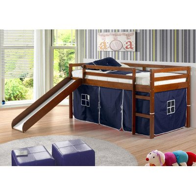 - Donco Kids Twin Tent Loft with Slide and Slat-Kits Light Espresso, Blue Tent