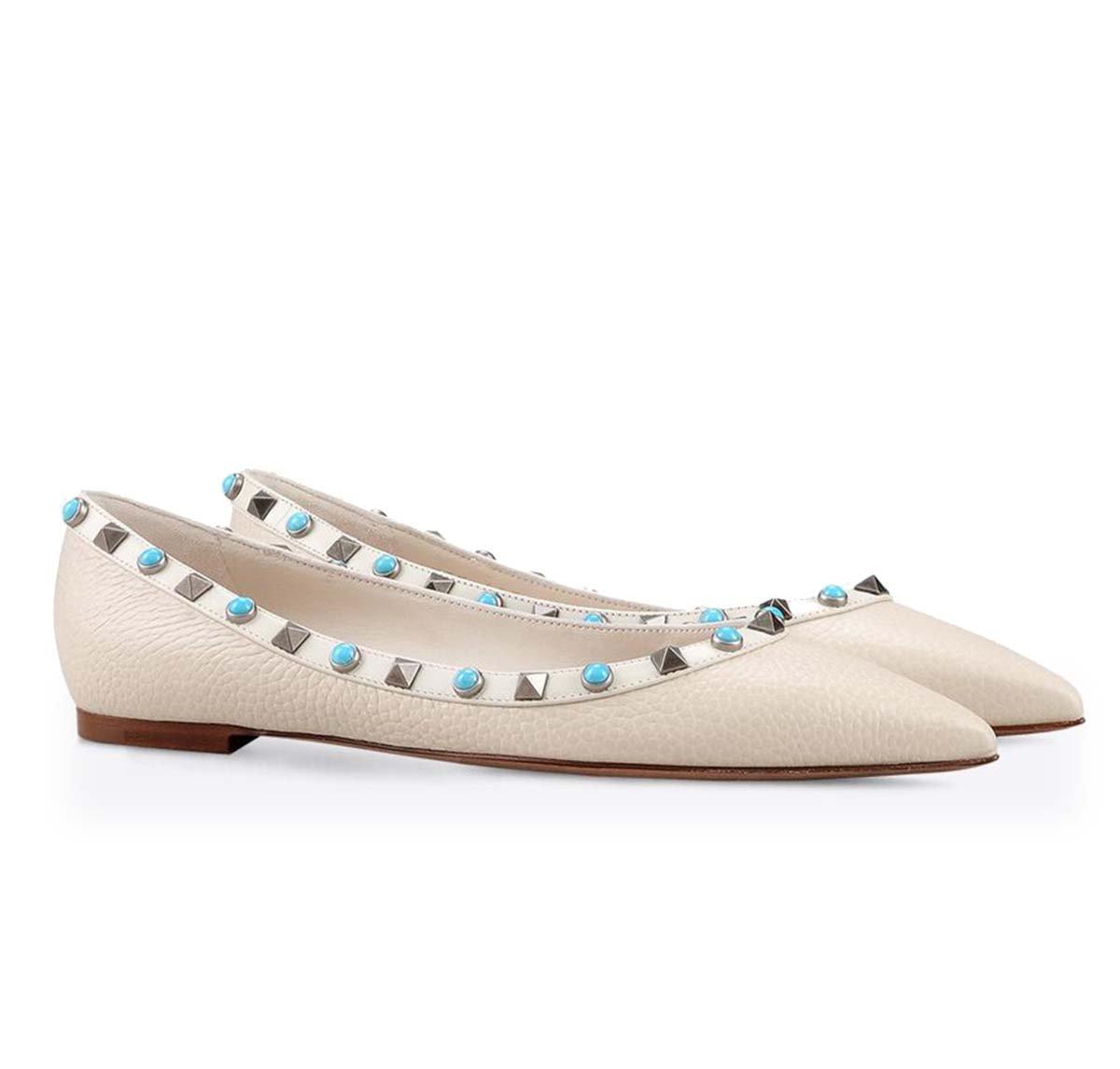 GONGFF Flache Spitze Niet Schuhe Frauen Ballett Schuhe Pumpe Sandalen,#3,36  36|#3