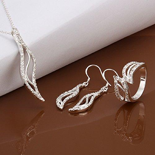 Hot Sale Wedding Fashion 925 Silver Plated Jewelry Set Necklace Ring Hook Earings Eardrop Skeleton Banana