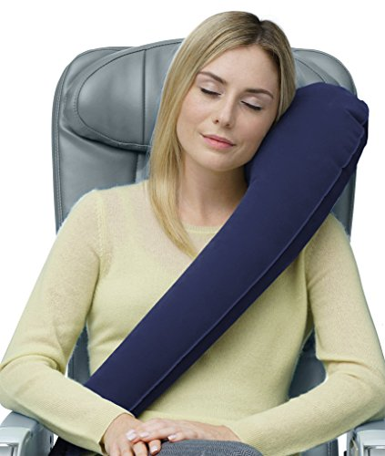 Travelrest - The Ultimate Travel Pillow/Neck Pillow - Ergonomic, Patented & Best Adjustable for Airplane, Auto, Bus, Train, Office Napping, Camping, Wheelchairs (Rolls Up Small) (Navy)