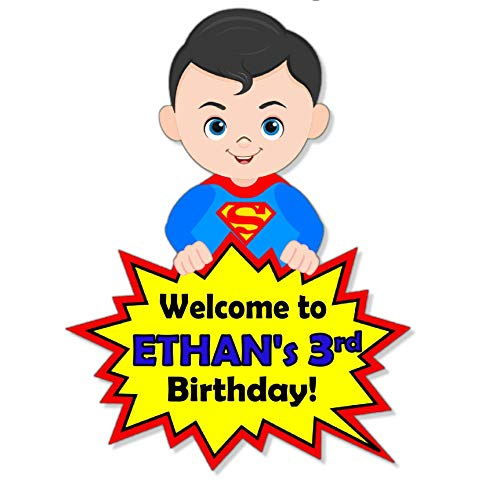 Personalized Superhero Birthday Party Baby Shower Welcome Door Sign - Optional Superheros Superman, Batman, Captain America, Wonder Woman - Decorations Invitations, Favor Tags, Thank Yous - BCPCustom for $<!--$14.00-->