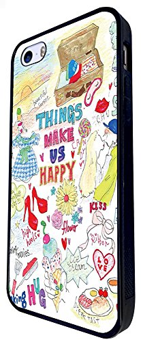 1220 - Things Make Girls Happy Shopping Shoes Ice Cream Flowers Kiss Design iphone SE - 2016 Coque Fashion Trend Case Coque Protection Cover plastique et métal - Noir