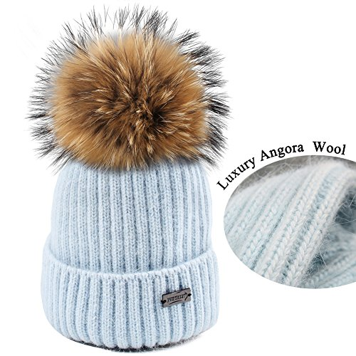 Blue Kids Beanie (FURTALK Winter Knit Pom Pom Hat - Angora Wool Parent Child Beanie For Women Kids Toddler Original (Kid Light Blue))