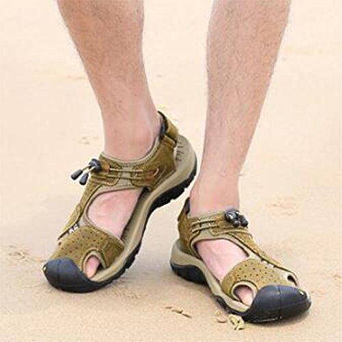 Da Spiaggia Brown Uomo Tempo In Estivi Sandali Trend Sandali Per Da ZHONGST Libero Il Pelle ZEz6Sqw6x
