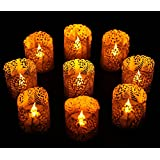 24 Flamesless Tea Lights -Yellow LED Tealight Candles with BONUS Votive Wraps Included -LED Candle for Wedding Gift Votive Holder (24 pack with Votive Wraps)