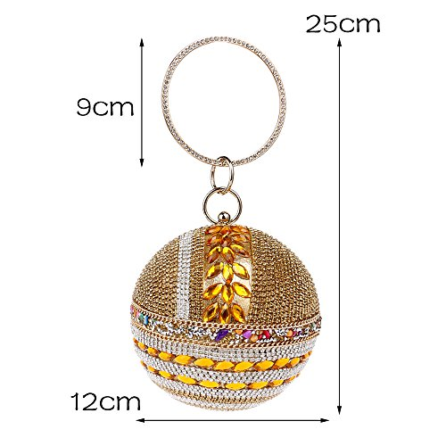 Purse Handbag Round for Clutch Banquet Party Rhinestone Wedding Evening Woman Gold Ball Handbag Bag 6Zw00q