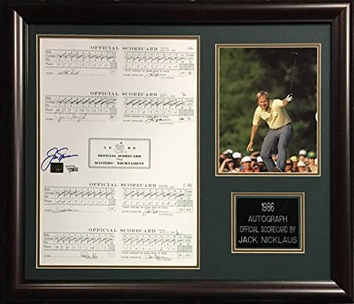 Jack Nicklaus Autographed Signed 1986 Masters Score Card 8x10 Photo Framed Auto Fanatics Authentic