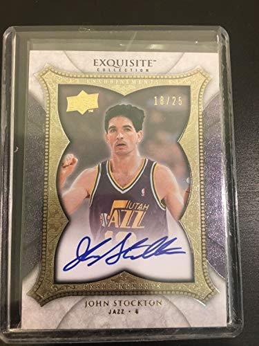 (2007-08 Upper Deck Exquisite Collection John Stockton Autographed Signed Auto Autograph /25 - Certified Signature)