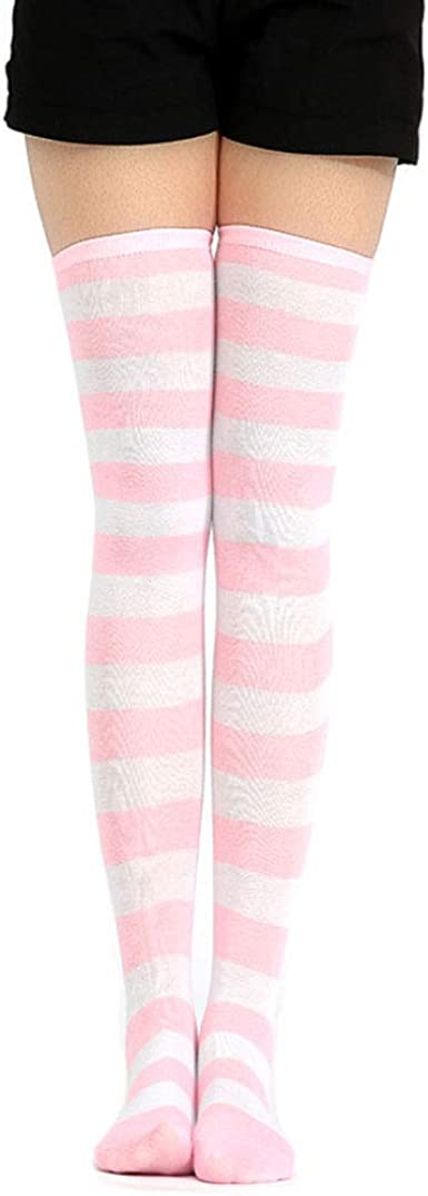 Details about  /Fashion Girls High White Striped Cotton Socks Color Matching Over Knee Stockings