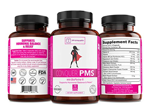 Conquer PMS by PhiHealth Nutrition Hormone Balance Supplement with BioPerine (72 Capsules) Help Relieve Menstrual Cramps, Gas, Bloating, and Discomfort | Appetite Suppressant | Non-GMO