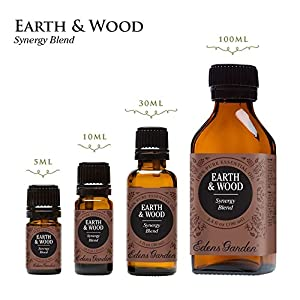 Earth & Wood Synergy Blend Essential Oil by Edens Garden- 10 ml (1/3 oz) (Cedarwood, Patchouli, Cedarwood, Vetiver, Vanilla, and Damiana)