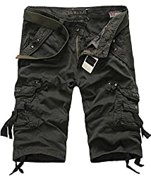 XueYin Men's Multi-pocket Three-Quarters Cargo Shorts Loose Slim Fit(Army green,29 size)(Label30)