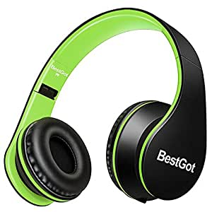 BestGot Headphones with microphone for Kids Adult with Microphone In-line Volume, Included Transport Waterproof Bag, Foldable Headset with 3.5mm plug removable cord (Black/Green)