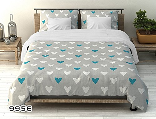 BSD Cotton bedding 160x200 White and turquoise hearts on a gray background Valentine's Day New