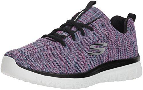 Skechers Women's Graceful-Twisted Fortune Sneaker, Black/Multi, 8 M US